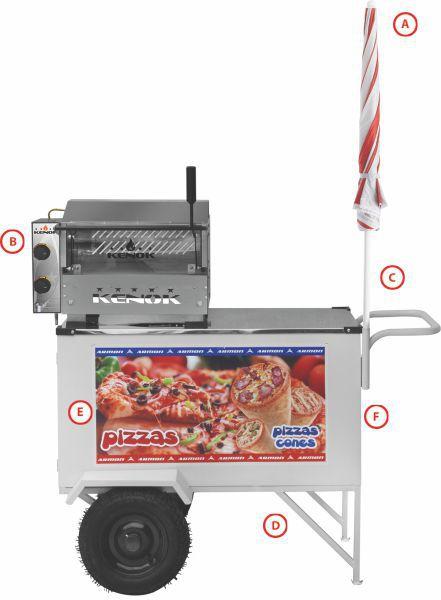 Carrinho Pizza Mini Pizza e Cone Armon CPCL018 Inox