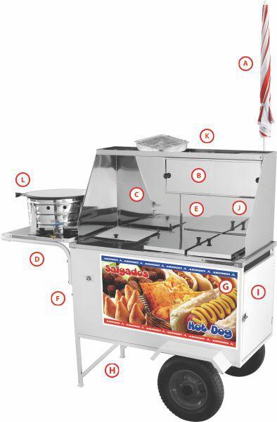 Carrinho Salgado Hot Dog Lanche Armon CHLSL013