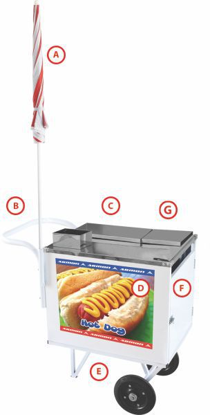 Carro de Hot Dog Básico Armon DSM005 sem Estante