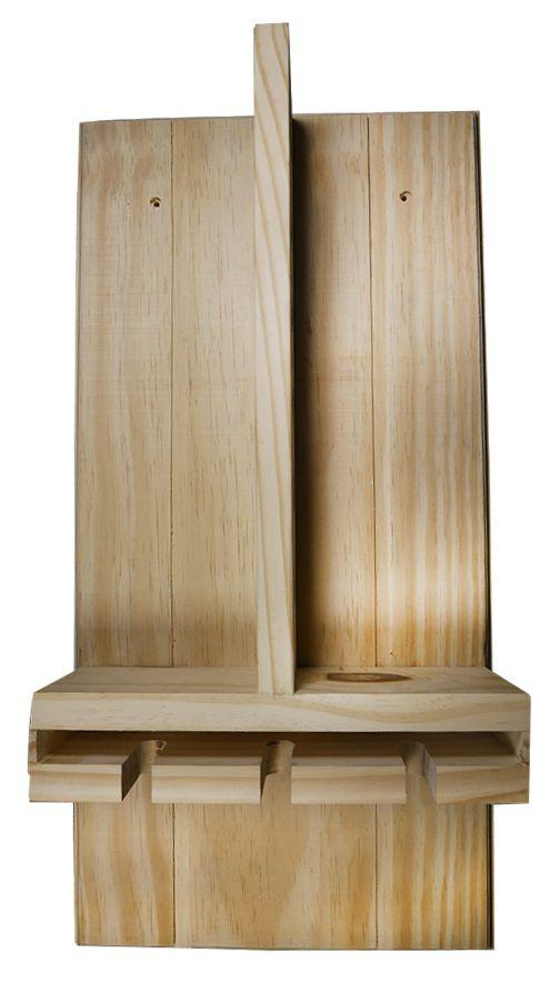Mini Adega Madeira Pinus Suporte para 6 Vinhos e 3 Taças
