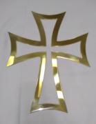 """Aplique modelo """"Cruz vazada"""" em latão banhado a ouro, para altar ou pedestal de leitura - 41cm altura X 30cm comprimento"""