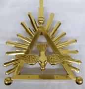 """Aplique modelo """"Divino Espírito Santo"""" em bronze, dourado, para altar ou pedestal de leitura - 51cm altura X 41cm comprimento"""
