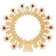 Auréolas com Estrelas e Pedras (brancas, azuis ou vermelhas) - fabricada em latão - diâmetro 27cm