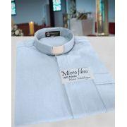 Camisa Clerical na cor azul claro em micro fibra - 100% poliéster - tamanhos PP, P, M, G e GG
