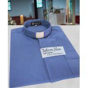Camisa Clerical na cor azul em micro fibra - 100% poliéster - tamanhos PP, P, M, G e GG