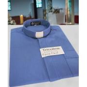 Camisa Clerical na cor azul escuro em tricoline  50% algodão 50% poliéster - tamanhos PP, P, M, G e GG