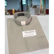 Camisa Clerical na cor cinza claro em tricoline  50% algodão 50% poliéster - tamanhos PP, P, M, G e GG