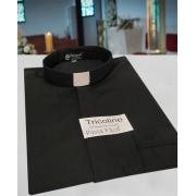 Camisa Clerical na cor preto em tricoline  50% algodão 50% poliéster - tamanhos PP, P, M, G e GG