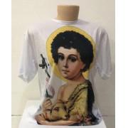 Camiseta branca com estampa do Menino Jesus