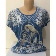 Camiseta estampa Nossa Senhora do Rosário com apliques