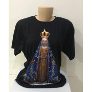 Camiseta preta com estampa Nossa Senhora Aparecida