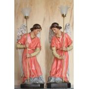 Conjunto Anjos Adoradores 78cm Rosa - Resina