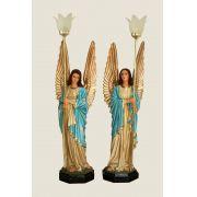 Conjunto de Anjos 82cm Azul com Luminária - Resina