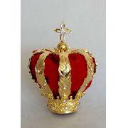 Coroa banhada a ouro - forro insterno de veludo vermelho - adornada com pedras de strass - diâmetro da base 35mm - para imagem de Nossa Senhora Aparecida de 45cm