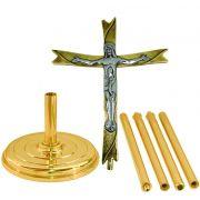 Cruz Processional - confeccionada em latão - medidas 30x230cm