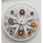Espírito santo com raios colorido de parede - fabricado em madeira - 40cm