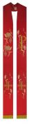 Estola sacerdotal vermelha bordada com franja - 1 face - com detalhes em dourado - confeccionada em tecido oxford