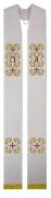 Estola sacerdotal branca bordada com franja - 1 face - com detalhes em dourado - fabricada em tecido oxford
