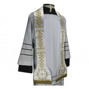 Estola Romana bordada com franja - cor branco