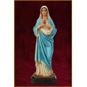 Imaculado Coração de Maria - altura 63cm - resina e olhos de vidro