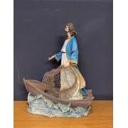 Imagem Jesus pescador - em resina - 28x23cm