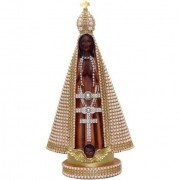 Nossa Senhora Aparecida com pérolas - 40cm - resina