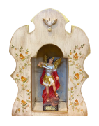 Oratório de madeira para imagem de 20cm