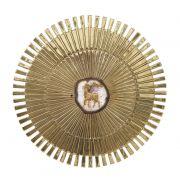Sacrário de embutir - modelo Sol Grande com lâmina de Ágata material latão - diamentro 31,5x31,5x31,5cm