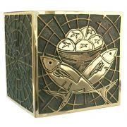 Sacrário de mesa - modelo Labirinto - material bronze com pátina - tamanho grande - dimensões 53x53x53cm
