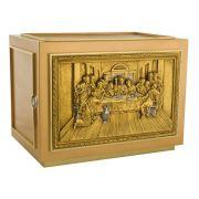Sacrário de mesa - modelo Santa Ceia Grande - material latão e ferro - porta em relevo com banho de ouro - dimensões 46x32x30cm