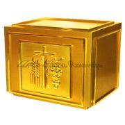 Sacrário retangular  com friso - fabricado em latão com banho de ouro