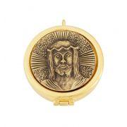 Teca modelo Face de Cristo, com dobradiça - diâmetro 5,5cm - capacidade 10 partículas