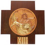 Via Sacra fabicada em resina e madeira - dimensões 21x21cm