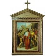 Via Sacra - bizantina com cruz - 75x42cm - 15 estações