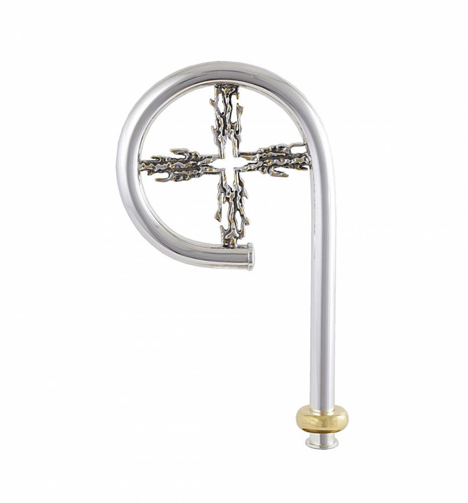 Báculo modelo Cruz Fundida, latão com banho de prata e detalhesm em ouro - haste desmontável - altura 165cm