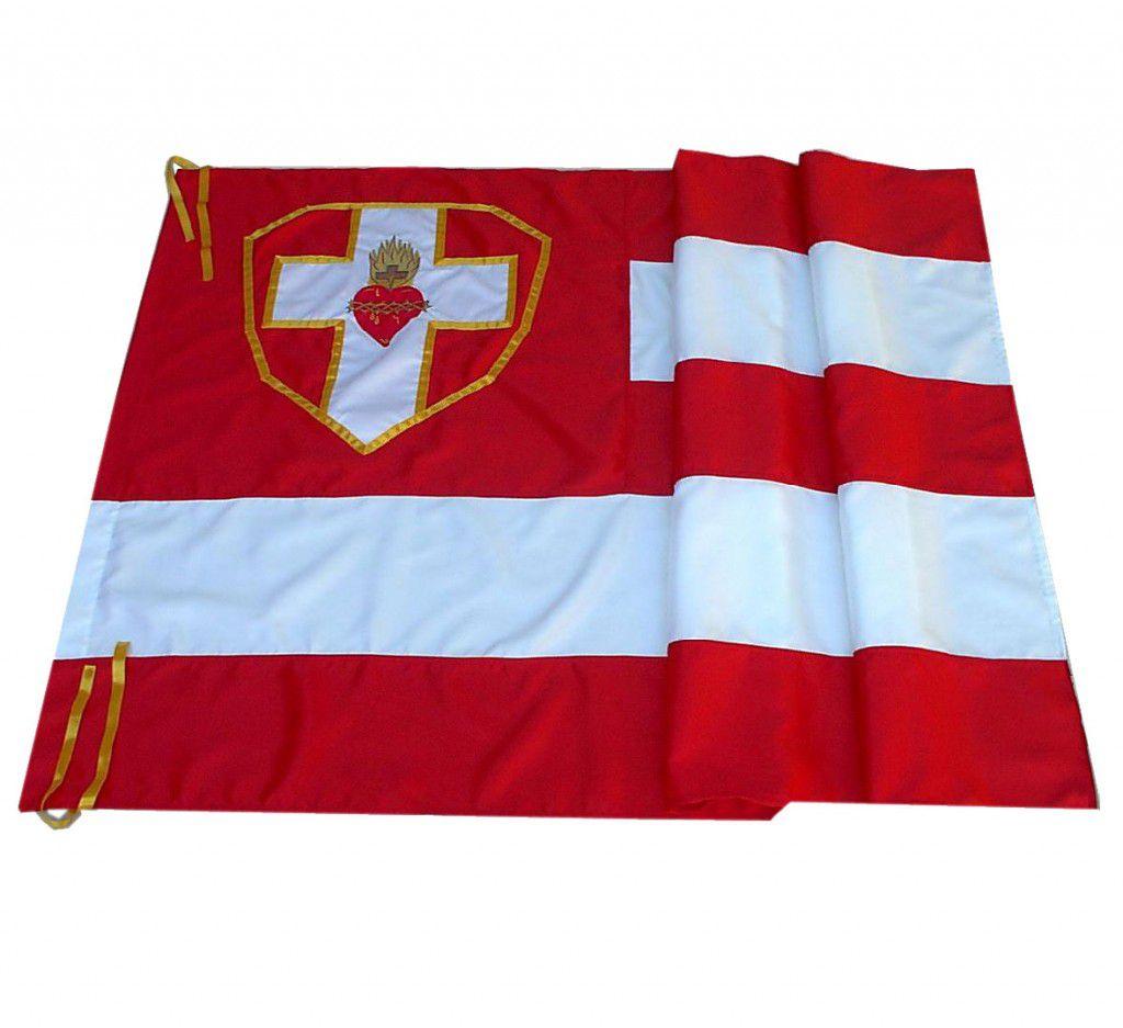 Bandeira Apostolado da Oração bordada duas faces - Sagrado Coração de Jesus - em cetim - 1,30 X 1,60