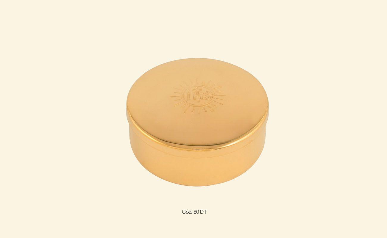 Teca / caixa de Hóstia - dourado total, dourado interno ou inox