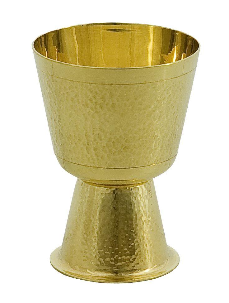 Cálice trabalhado - dourado ou niquelado - altura 13cm - diâmetro da copa 10cm - (acompanha patena)