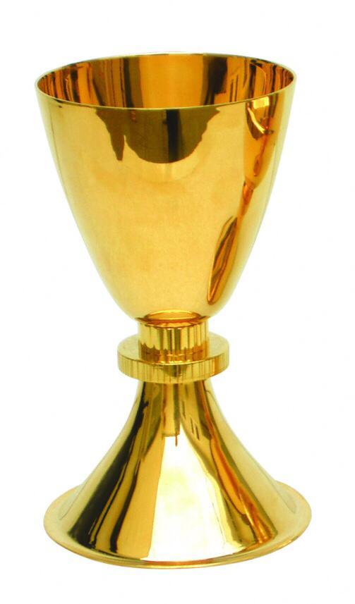 Cálice liso com detalhe em metal - dourado ou niquelado - altura 16,5cm - diâmetro da copa 9cm - (acompanha patena)