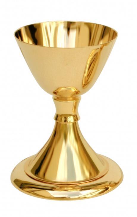 Cálice liso - dourado ou niquelado - altura 17cm - diâmetro da copa 11cm - (acompanha patena)