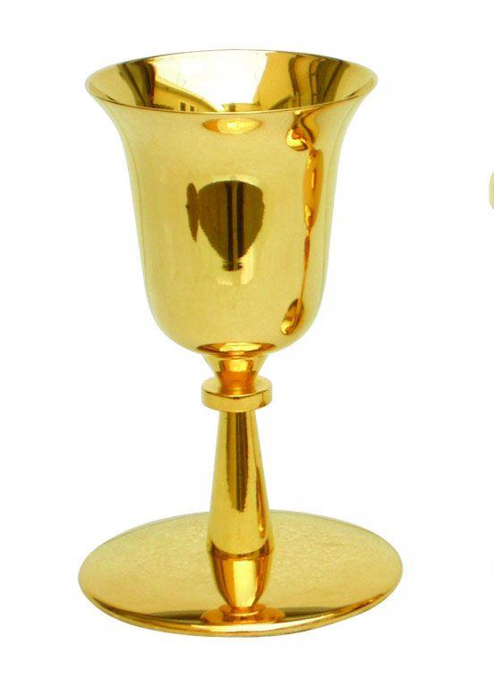 Cálice liso - dourado ou niquelado - Altura 18cm - diâmetro da copa 9cm - (acompanha patena)