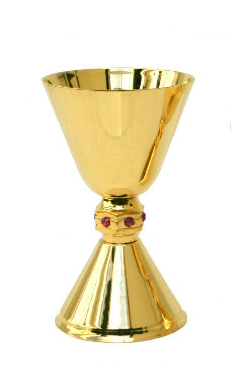 Cálice liso com pedras - dourado ou niquelado - altura 17cm - diâmetro da copa 11cm - (acompanha patena)