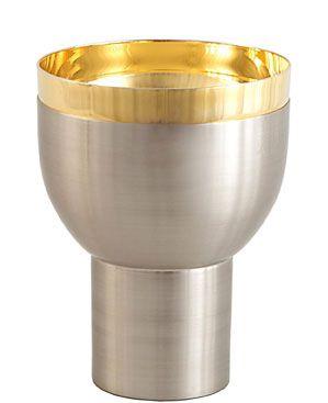 Cálice com friso na copa - dourado ou niquelado - altura 14cm - diâmetro da copa 12cm - (acompanha patena)