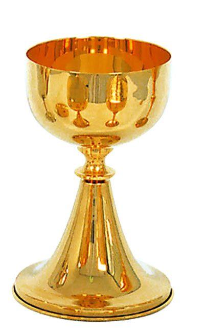 Cálice liso - dourado ou niquelado - altura 22cm - diâmetro da copa 8cm - (acompanha patena)