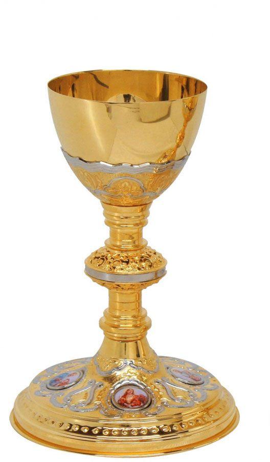 Cálice dourado detalhado e personalizável - altura 25cm - diãmetro da copa 11cm - (acompanha patena)