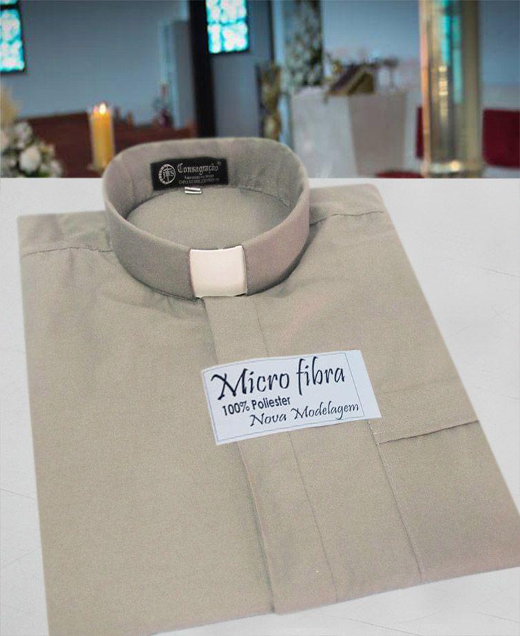 Camisa Clerical na cor cinza claro em micro fibra - 100% poliéster - tamanhos PP, P, M, G e GG