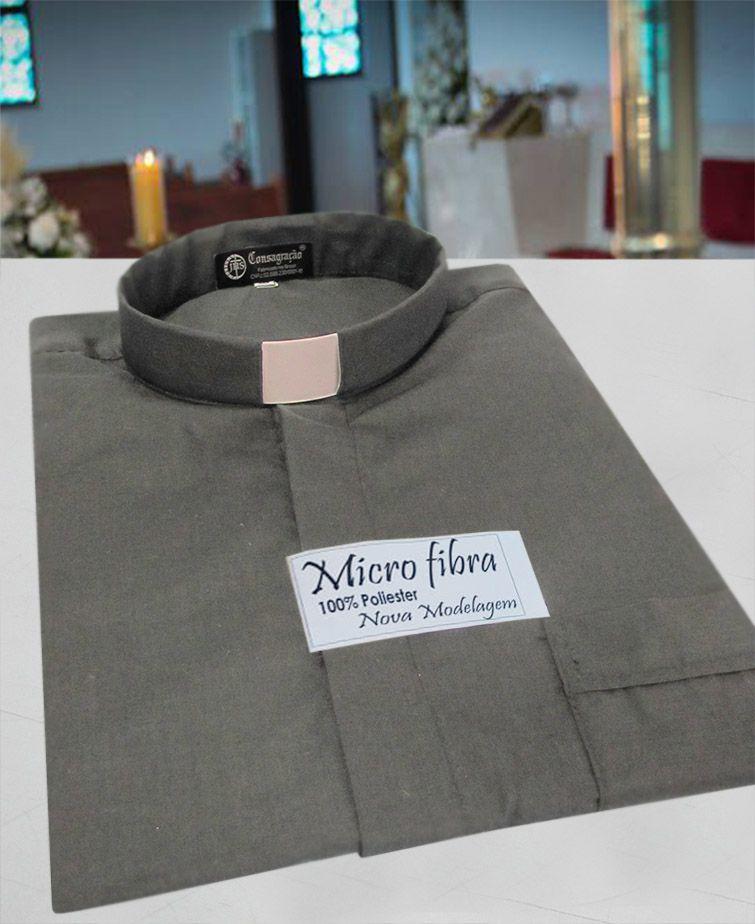 Camisa Clerical na cor grafite em micro fibra - 100% poliéster - tamanhos PP, P, M, G e GG