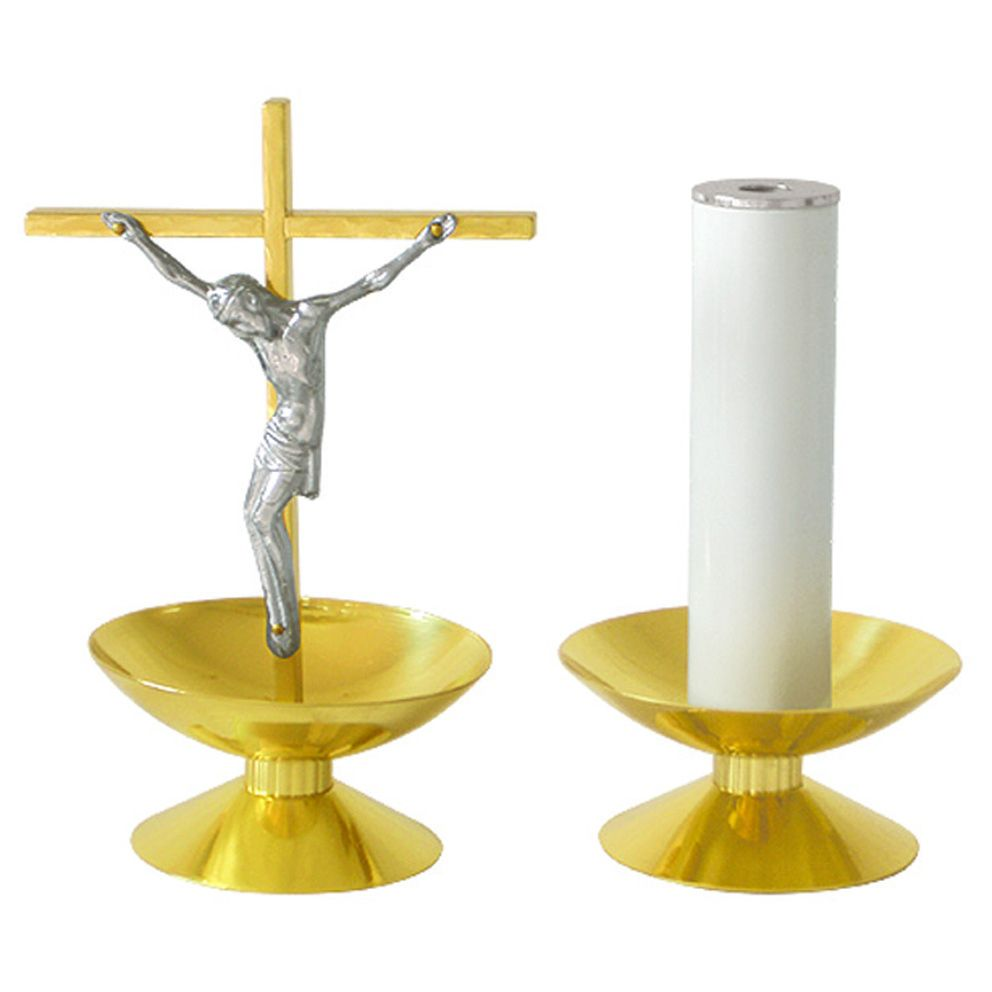 Conjunto Castiçal e Crucifixo - altura castiçal 6cm - altura crucifixo 22cm