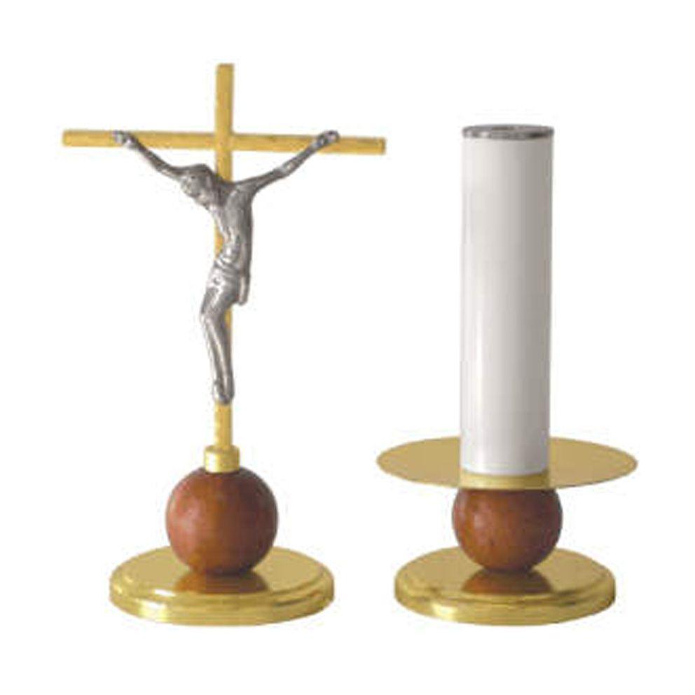Conjunto 2 Castiçais e 1 Crucifixo - altura castiçal 9cm - altura crucifixo 24cm
