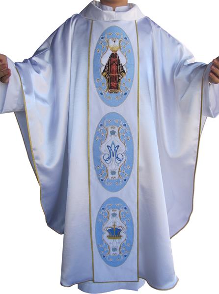 Casula com galão Nossa Senhora Aparecida - confeccionada em crepe shantung - acompanha estolinha